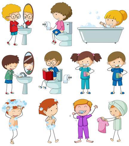 Set di doodle bambino con la routine quotidiana