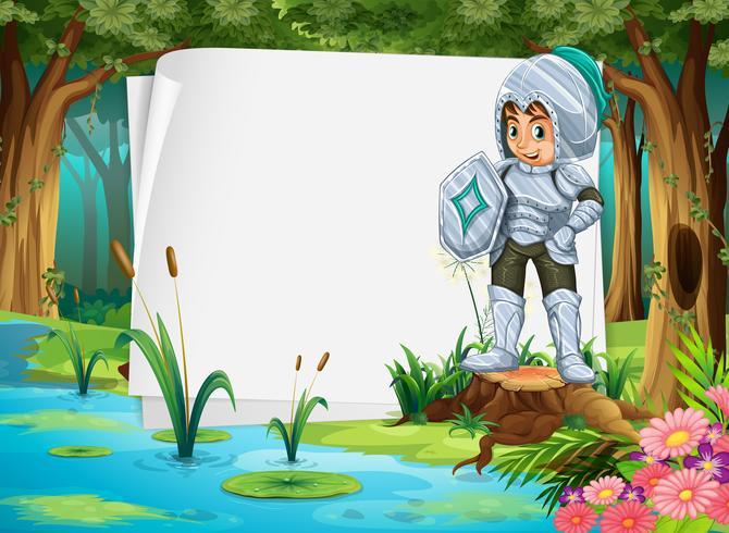 Papierdesign mit Ritter im Wald