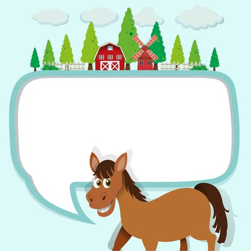 Grensontwerp met paard en boerderij
