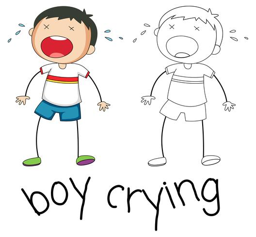 Doodle boy character crying