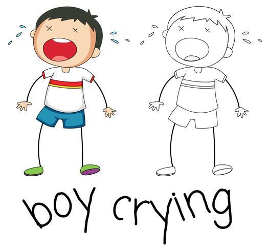 Doodle Boy Charakter weinen