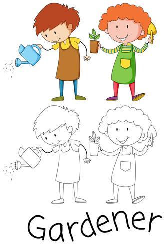 Doodle personagem de jardineiro em fundo branco