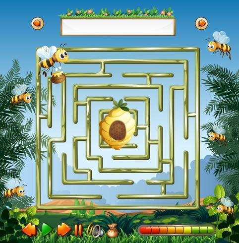 Bienen- und Bienenstocklabyrinthspiel