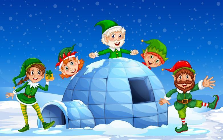Jul älva på vinterns bakgrund