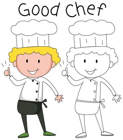 Doodle chef character set Vector - Download Free Vector Art