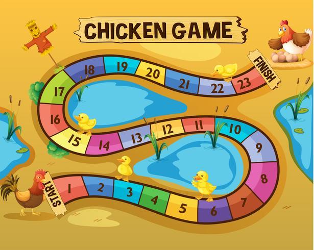 Modelo de jogo de tabuleiro com galinhas à beira da lagoa