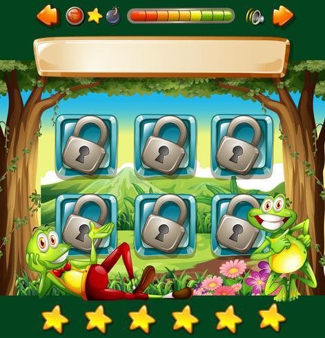 Modèle de jeu avec des grenouilles dans la jungle