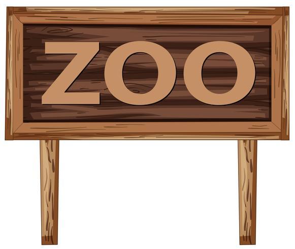 Uma tabuleta de zoológico em fundo branco