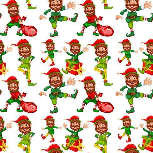 Happy Christmas Elf nahtlose Muster
