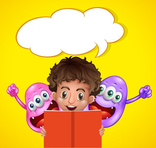 Boy reading book with two monsters