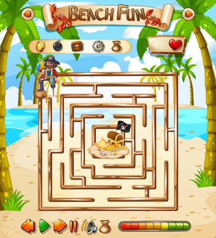 Plantilla de juego de laberinto de diversión en la playa