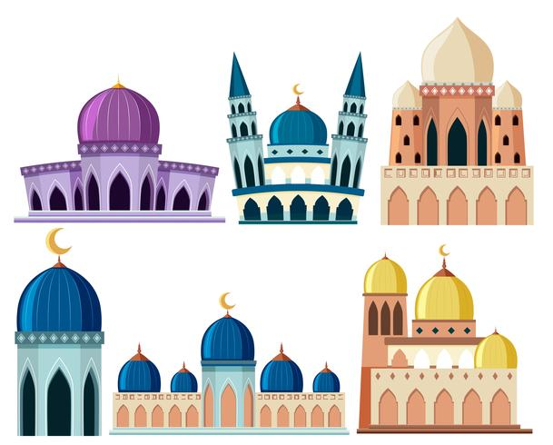 Set of different mosque building