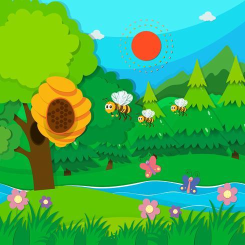Bee flying around beehive