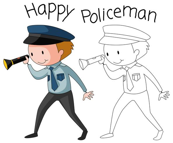 Doodle policeman character on white background