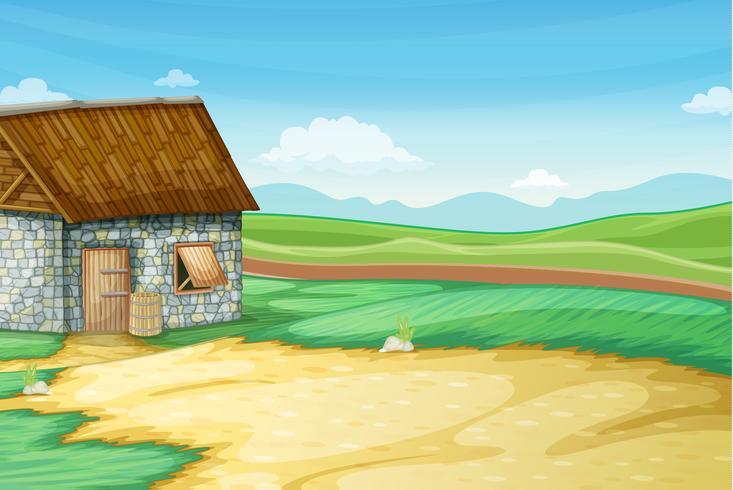 Landelijk landschap met schuur