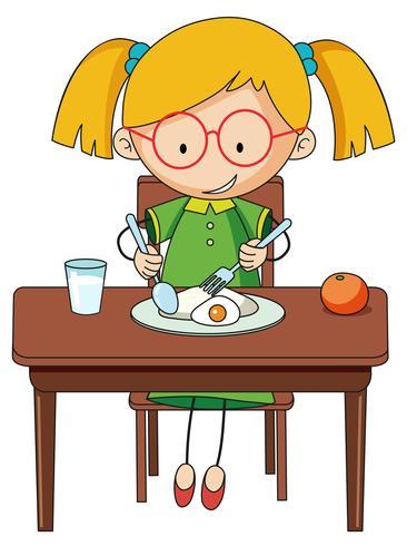 Gekritzelmädchen charcter, das Frühstück isst