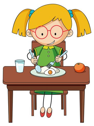 Doodle girl charcter eating breakfast
