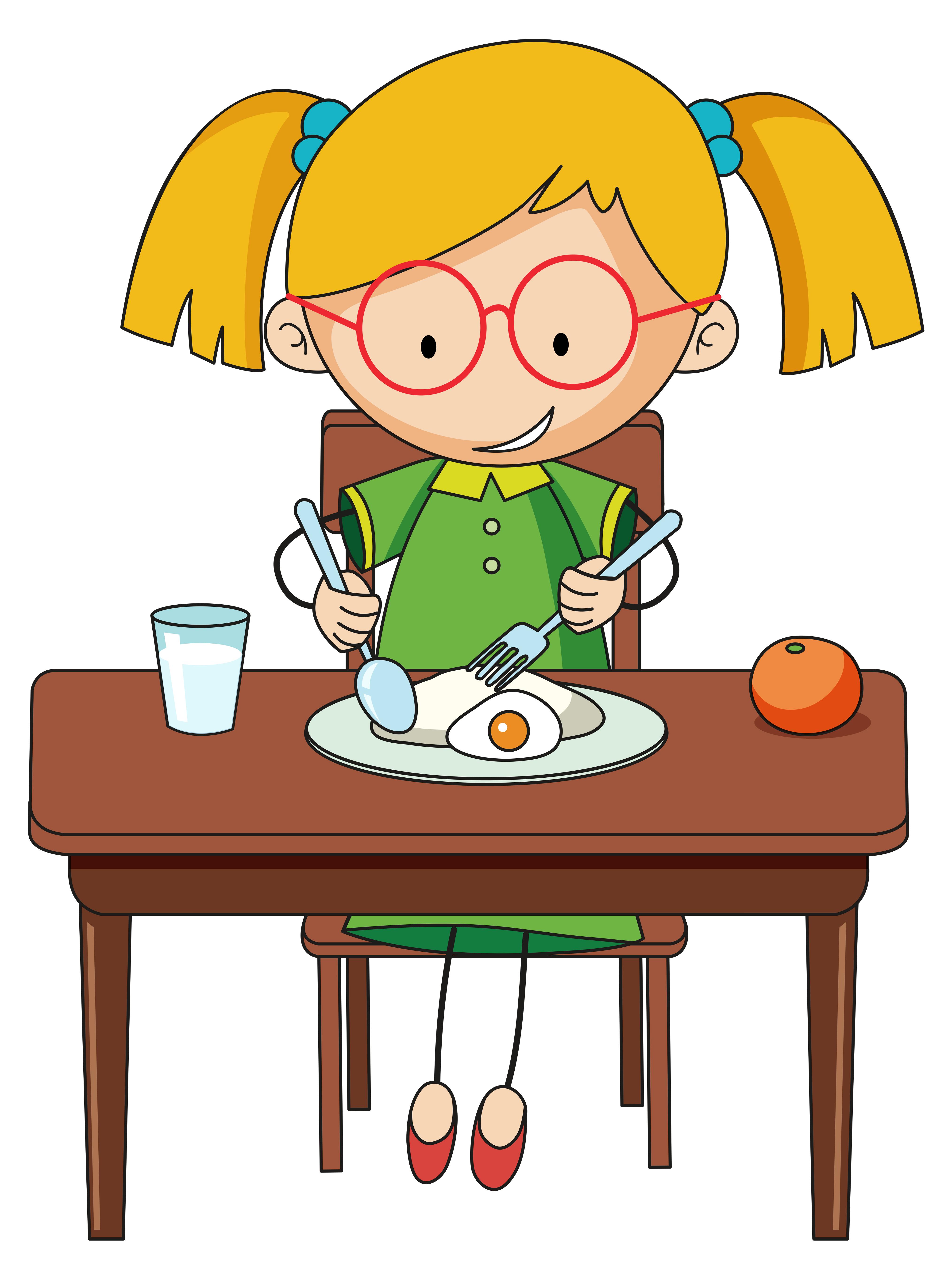 Doodle girl charcter eating breakfast 519620 - Download ... (4055 x 5426 Pixel)