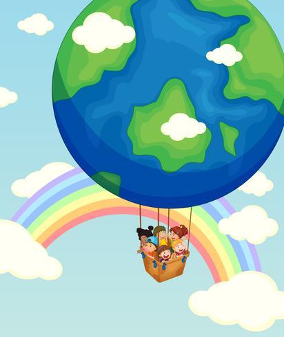 Crianças, montando, balloon, céu