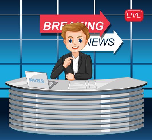 Un reporter di notizie maschili vettore