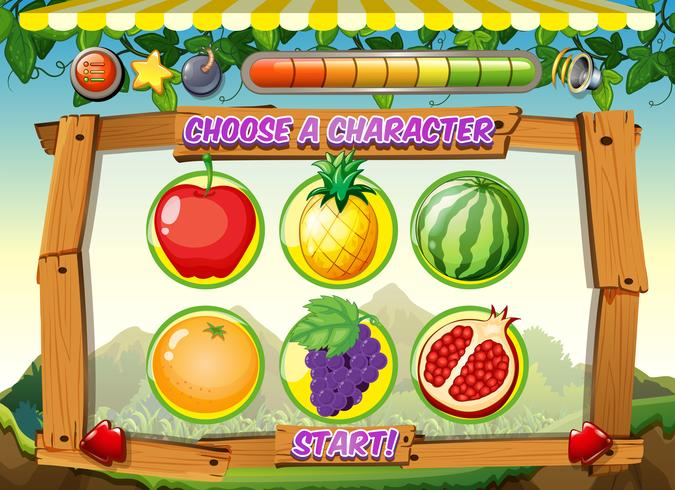 Modèle de jeu avec fond de fruits frais