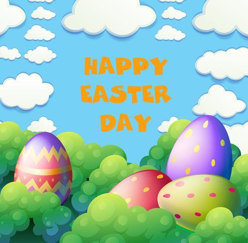 Manifesto felice di Pasqua con le uova nel giardino