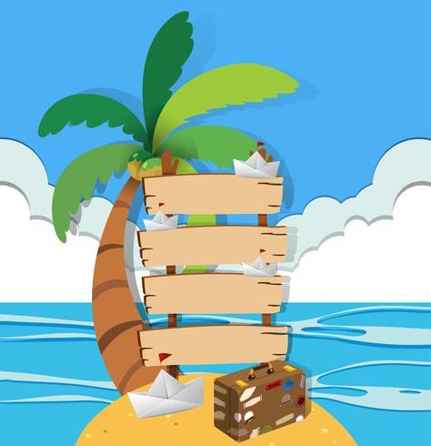 Carteles de madera en la isla
