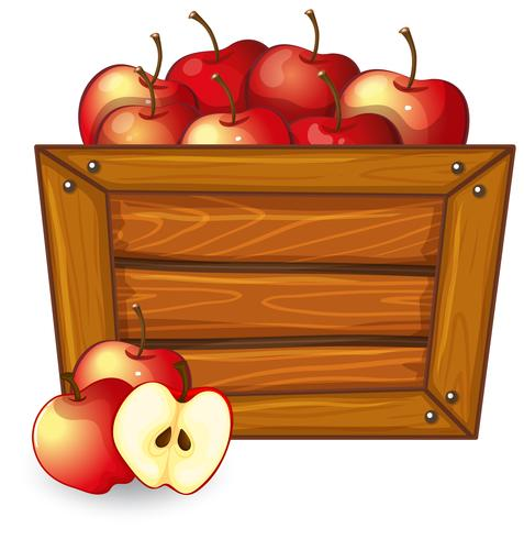 Red apple on wooden frame