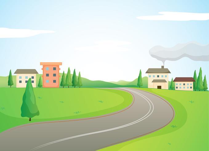 bâtiments et route