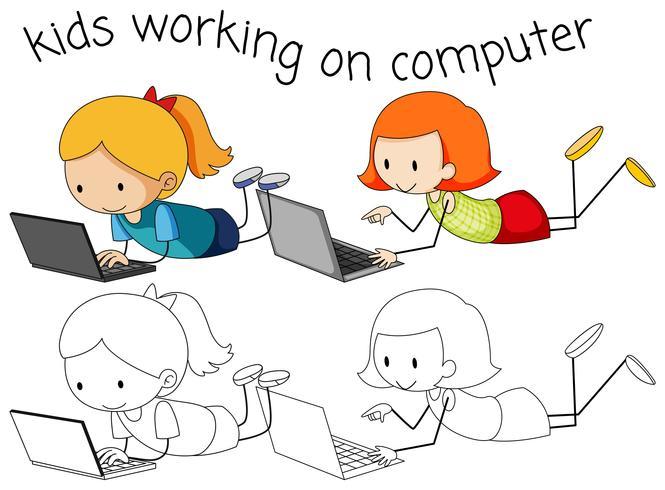 Girls using computer on white background