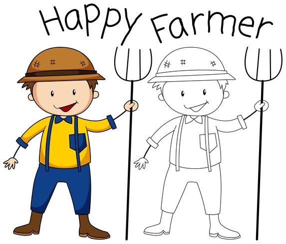 Doodle gráfico do agricultor