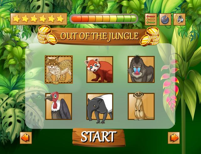 Wild animals jungle game template vector