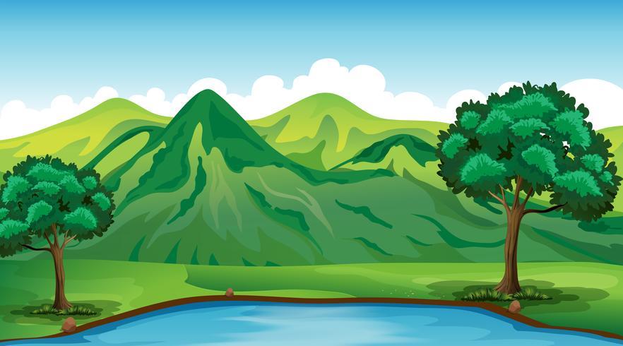 Achtergrondscène met groene berg en vijver