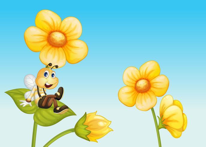 Ape su un fiore vettore