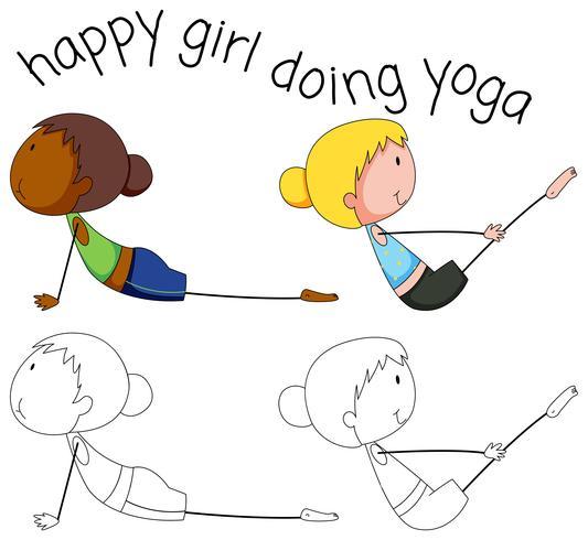 Conjunto de garota de ioga doodle