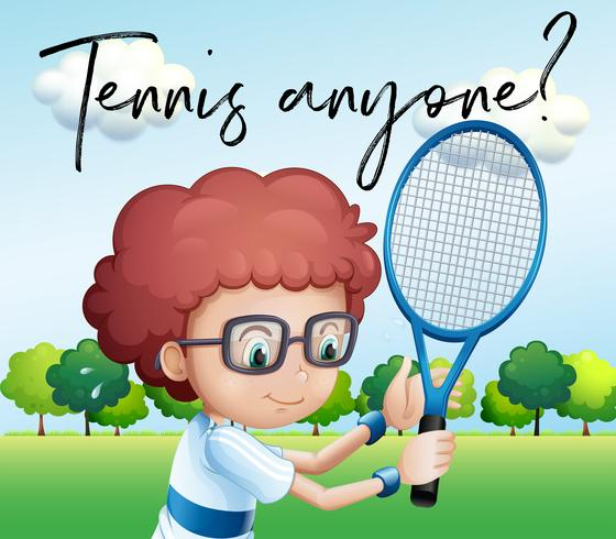 Little boy with tennis racket and phrase tennis anyone