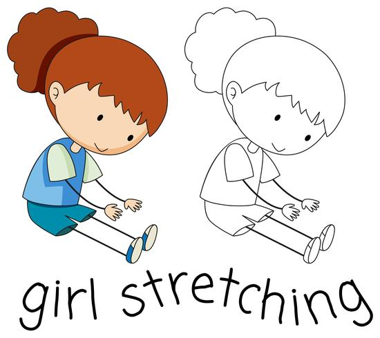 Doodle girl character stretching