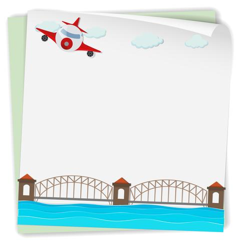 Design de papel com avião e ponte
