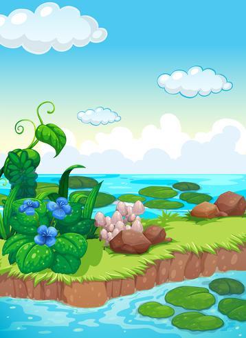 Scène met bloemen en paddestoel op eiland