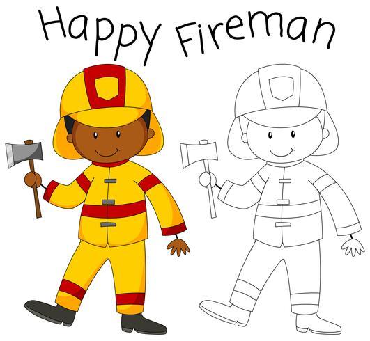 Happy fireman with an axe