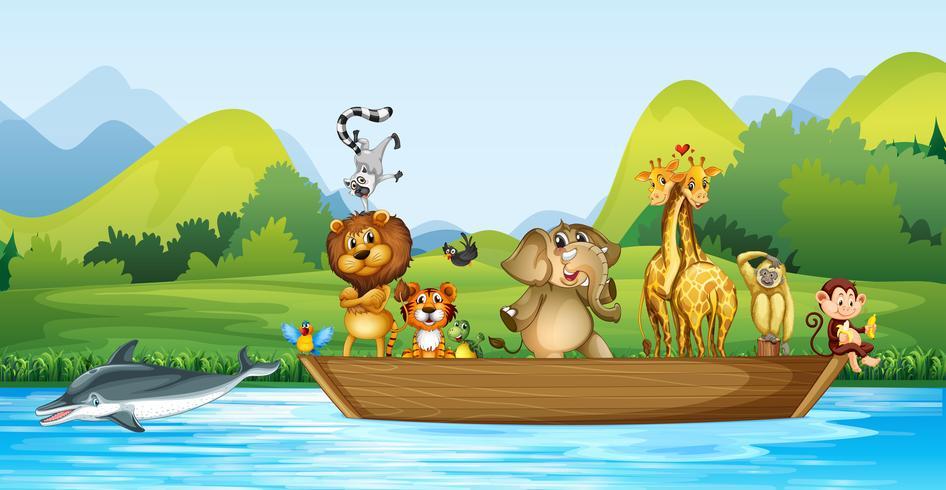 Vilda djur på träbåten vektor