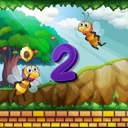Numéro deux avec 2 abeilles qui volent dans le jardin