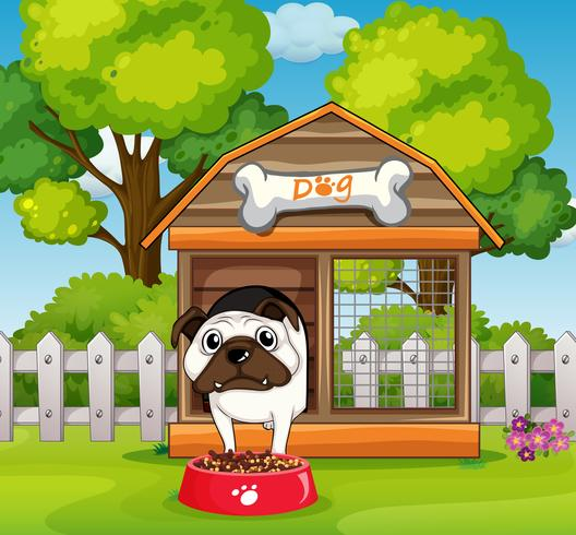 Dog in the doghouse in garden