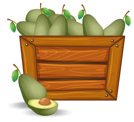 Abacate na placa de madeira