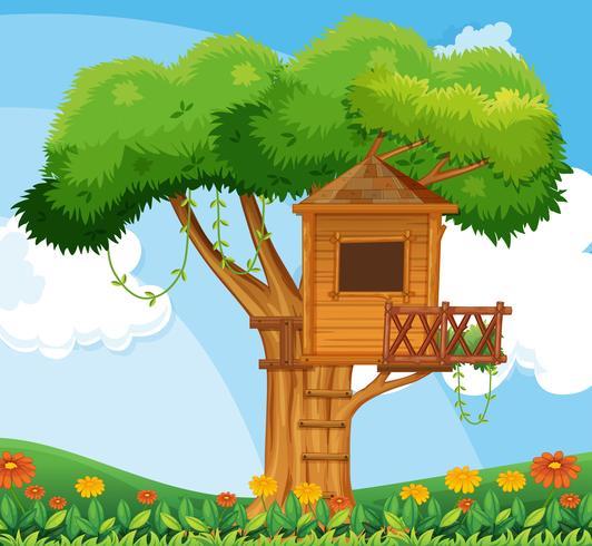 Scena della natura con casa sull'albero in giardino