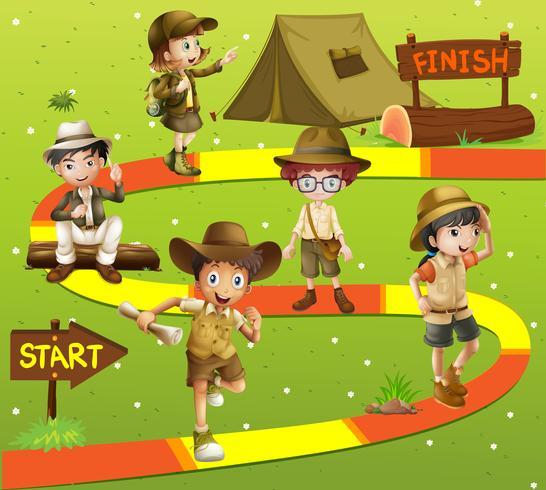 Spelmall med barn i safari outfit