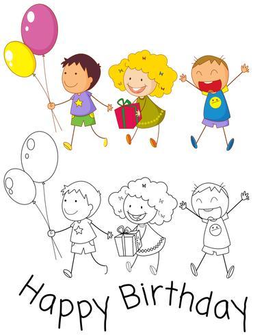 Doodle crianças comemoram aniversário