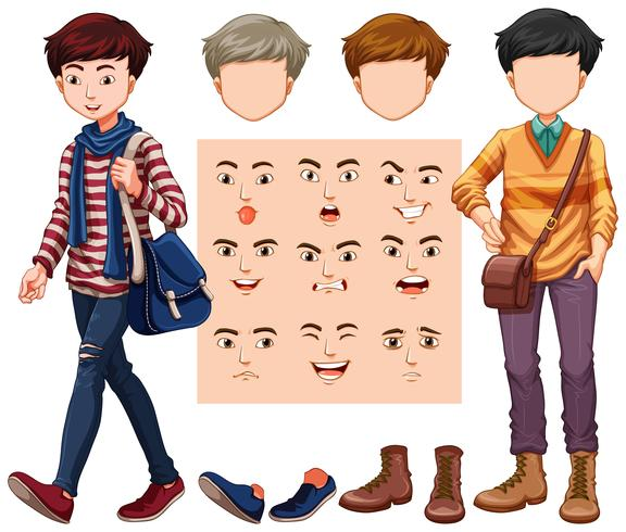 Conjunto de homem com cabeça diferente e expressão facial