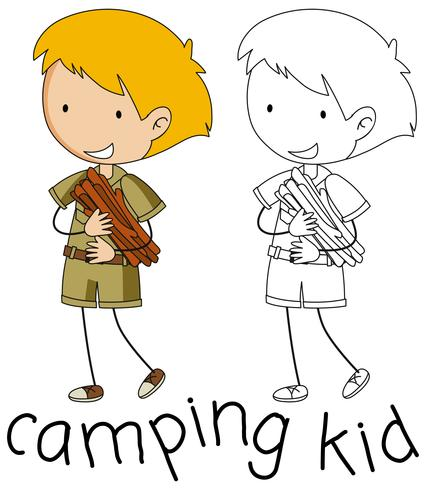 Doodle camping kid character