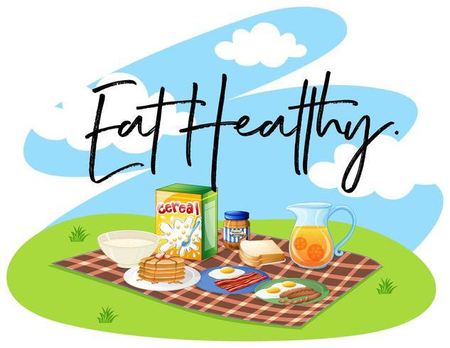 Conjunto de café da manhã e palavra comer saudável